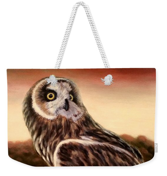 Owl At Sunset Weekender Tote Bag