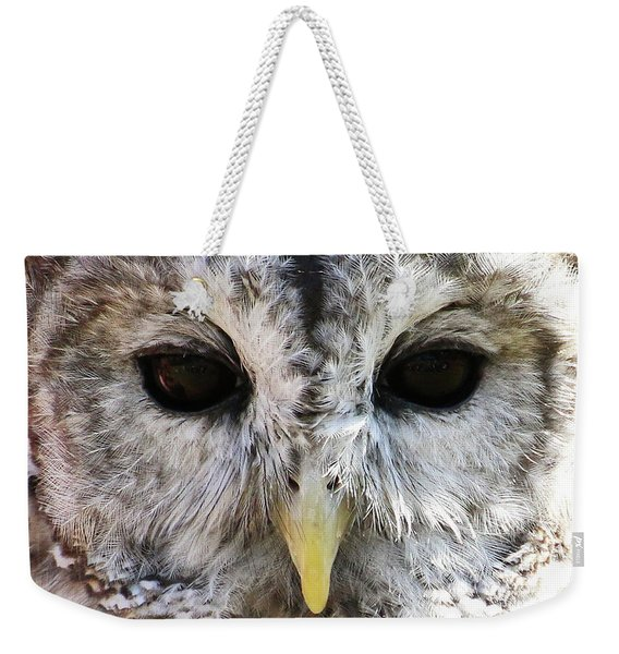 Weekender Tote Bag featuring the photograph Owl Eyes by William Selander