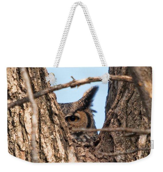 Owl Peek Weekender Tote Bag