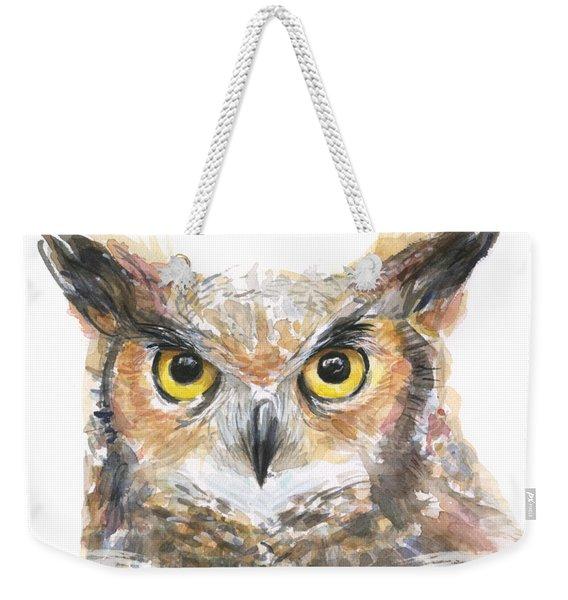 Owl Watercolor Portrait Great Horned Weekender Tote Bag