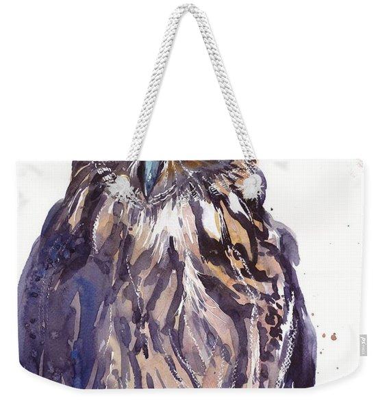 Owl Watercolor Weekender Tote Bag