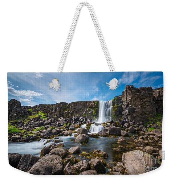 Oxararfoss Waterfall  Weekender Tote Bag