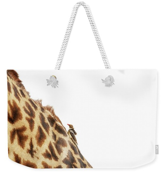 Oxpecker On Giraffe With Copy Space Weekender Tote Bag