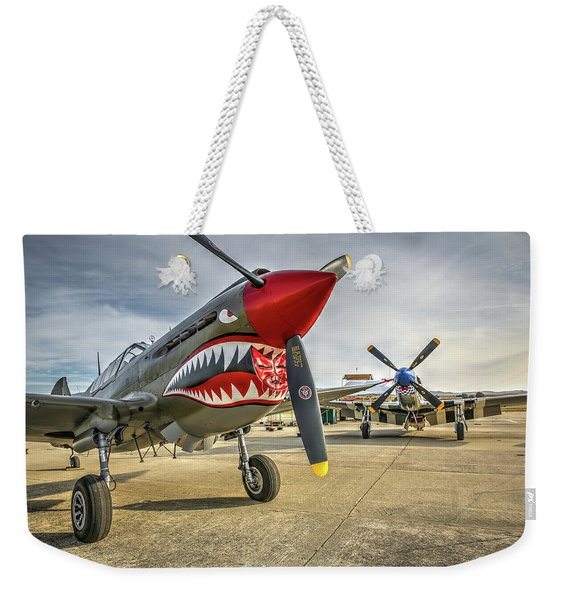 P40 Warhawk And P51d Mustang On The Ramp Weekender Tote Bag