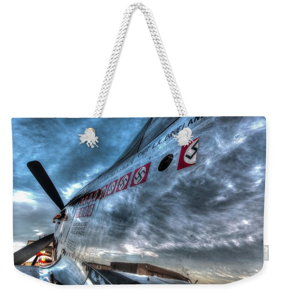 P51d Mustang Shows Off Its Nazi Kills Weekender Tote Bag