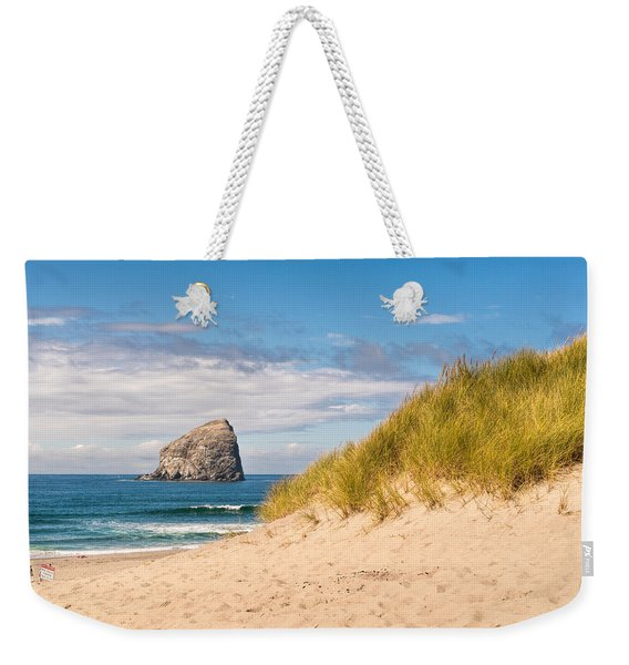 Weekender Tote Bag featuring the photograph Pacific Beach Haystack by Michael Hope