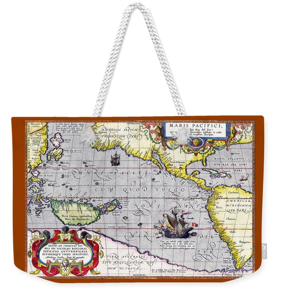 Pacific Ocean Vintage Map Weekender Tote Bag