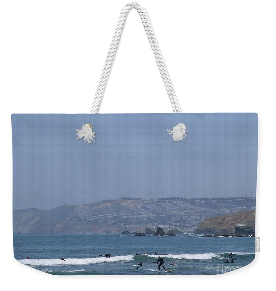 Weekender Tote Bag featuring the photograph Pacifica Surfing by Cynthia Marcopulos