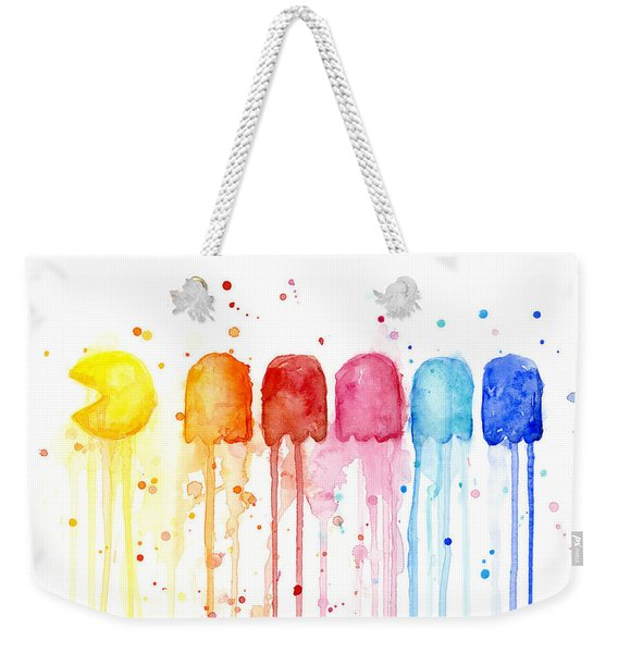 Pacman Watercolor Rainbow Weekender Tote Bag