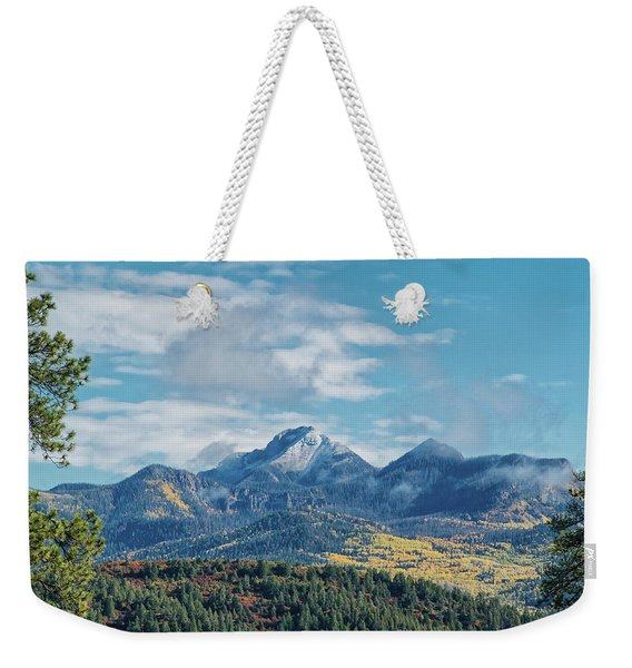 Weekender Tote Bag featuring the photograph Pagosa Peak Autumn 2014 by Jason Coward