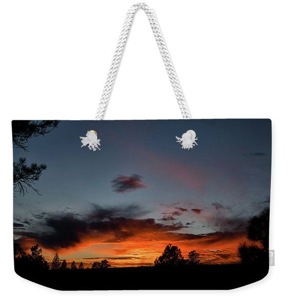 Weekender Tote Bag featuring the photograph Pagosa Sunset 11-30-2014 by Jason Coward