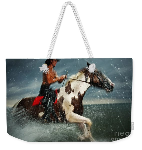 Paint Horse Running In The Water Weekender Tote Bag