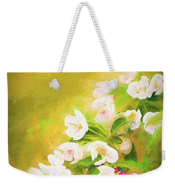 Painted Crabapple Blossoms In The Golden Evening Light Weekender Tote Bag
