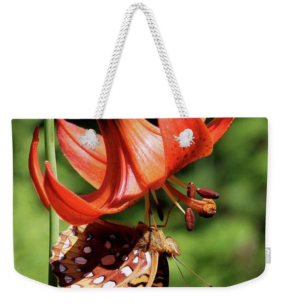 Painted Lady On Lily Weekender Tote Bag
