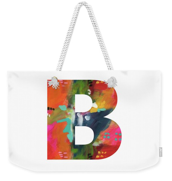Painted Letter B-monogram Art By Linda Woods Weekender Tote Bag