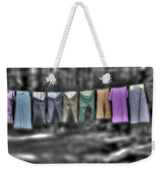 Weekender Tote Bag featuring the photograph Painted Washline In Plymouth Nh by Wayne King