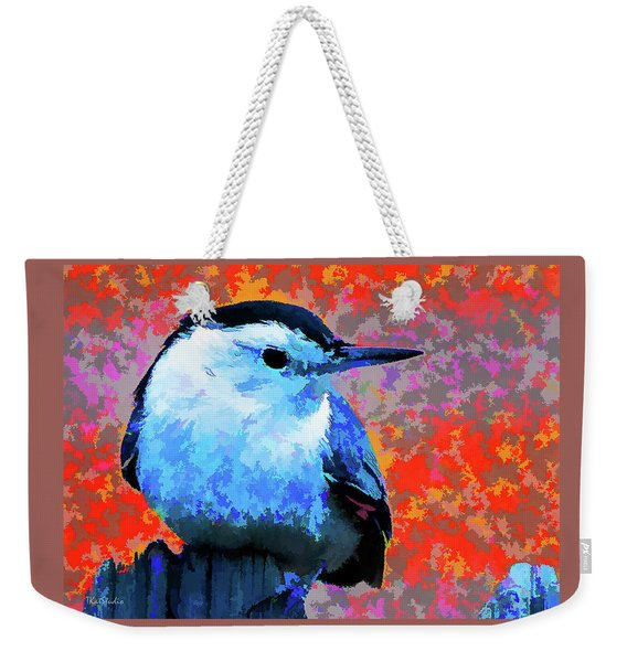 Painted White Breasted Nuthatch Weekender Tote Bag
