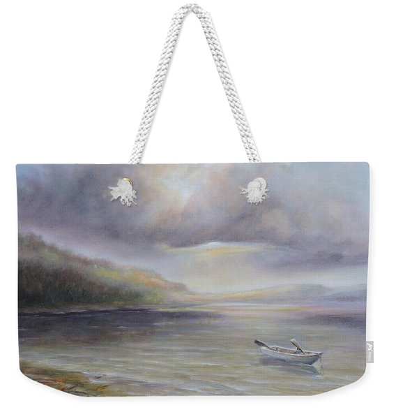 Beach By Sruce Run Lake In New Jersey At Sunrise With A Boat Weekender Tote Bag
