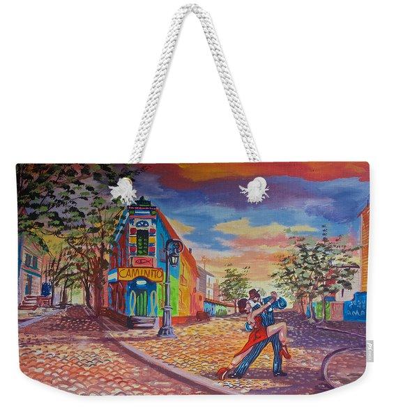 Painting Of Tango Dancing In La Boca Shown On A Street In La Boca Barrio Of Buenos Aires-argentina Weekender Tote Bag