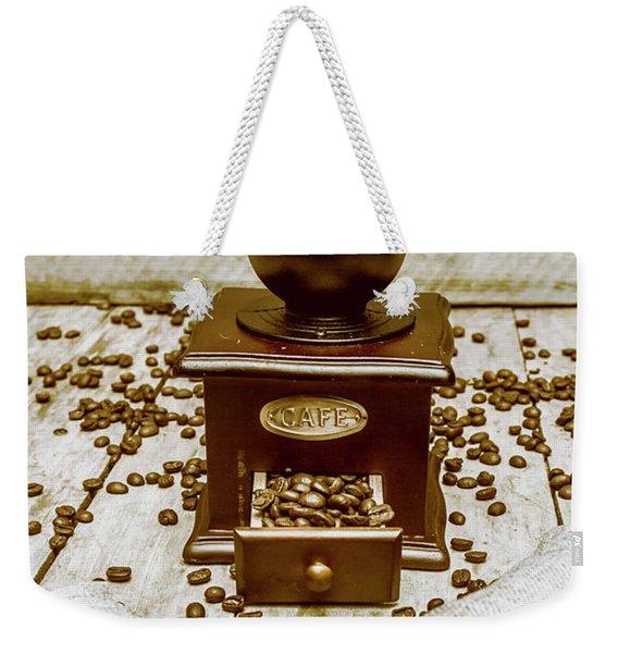 Pair Coffee Bean Bags Spilled In Front Of Grinder Weekender Tote Bag