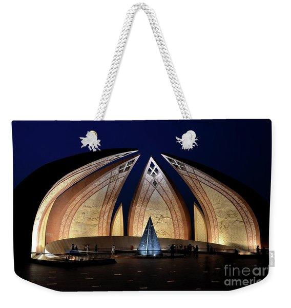 Pakistan Monument Illuminated At Night Islamabad Pakistan Weekender Tote Bag