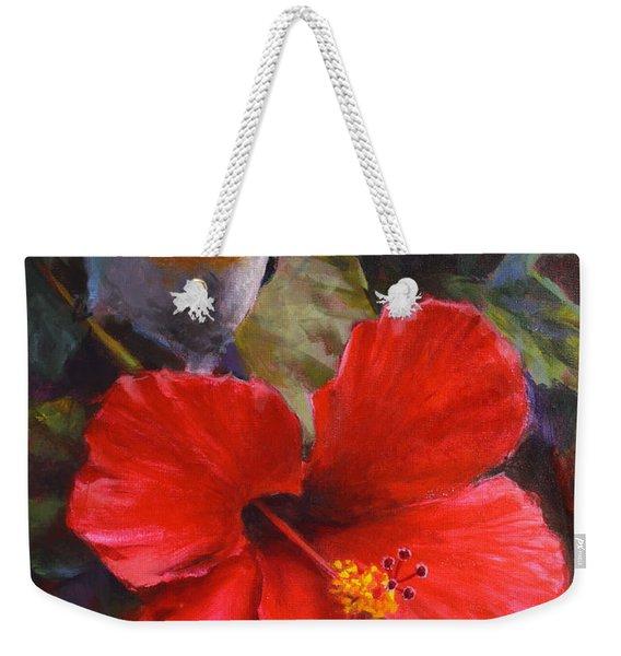 Palila And Hibiscus - Hawaiian Painting Weekender Tote Bag