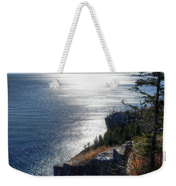 Palisade Head Lake Superior Minnesota Winter Afternoon Weekender Tote Bag