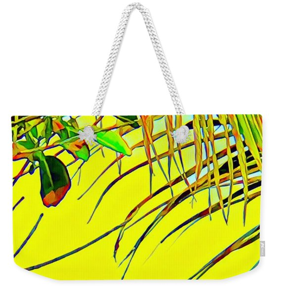 Palm Fragment In Yellow Weekender Tote Bag