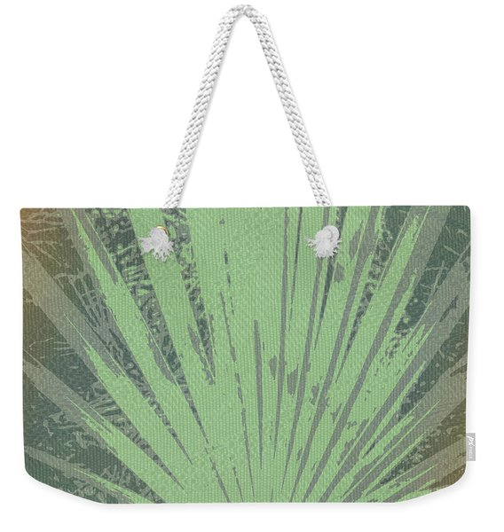 Palm Frond Green Gold Weekender Tote Bag