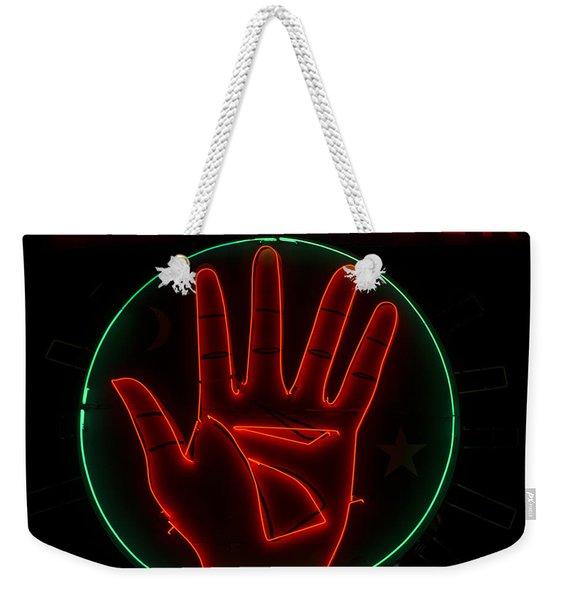 Palm Reader Neon Sign Weekender Tote Bag