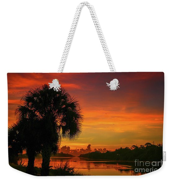 Weekender Tote Bag featuring the photograph Palm Silhouette Sunrise by Tom Claud