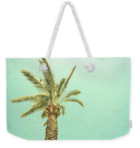 Palm Tree Against The Sky, Retro Image Weekender Tote Bag
