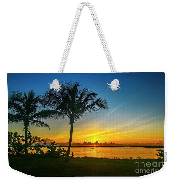Weekender Tote Bag featuring the photograph Palm Tree And Boat Sunrise by Tom Claud