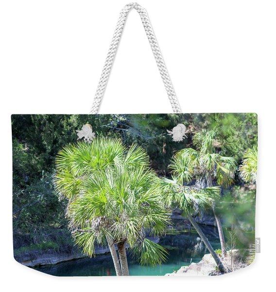 Palm Tree Blue Pond Weekender Tote Bag