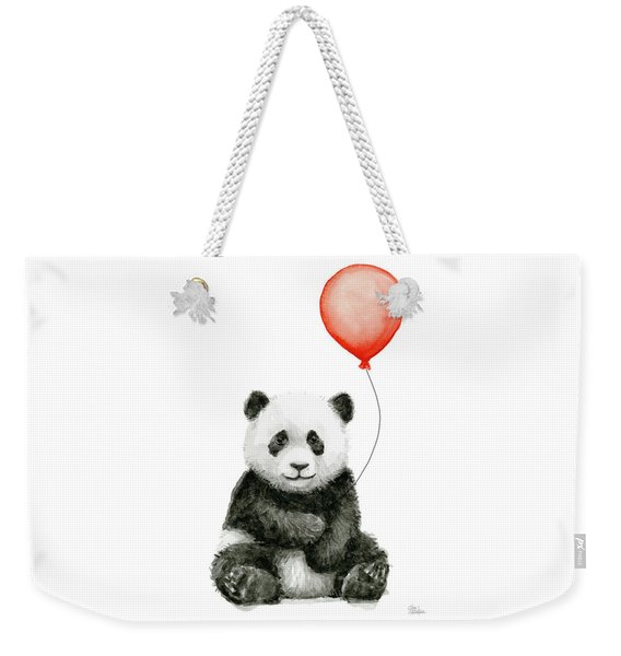 Panda Baby And Red Balloon Nursery Animals Decor Weekender Tote Bag