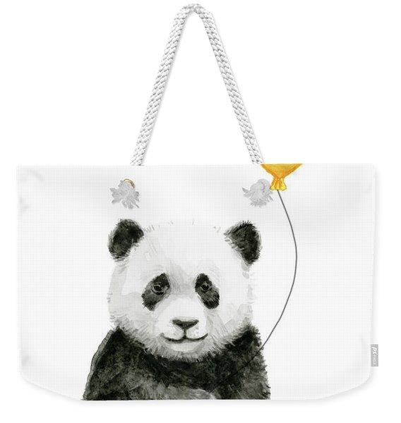 Panda Baby With Yellow Balloon Weekender Tote Bag