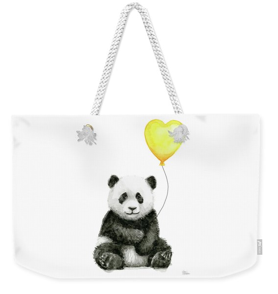 Panda Baby With Yellow Balloon Weekender Tote Bag