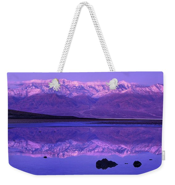 Panorama Badwater And The Panamint Range At Sunrise Death Valley Weekender Tote Bag