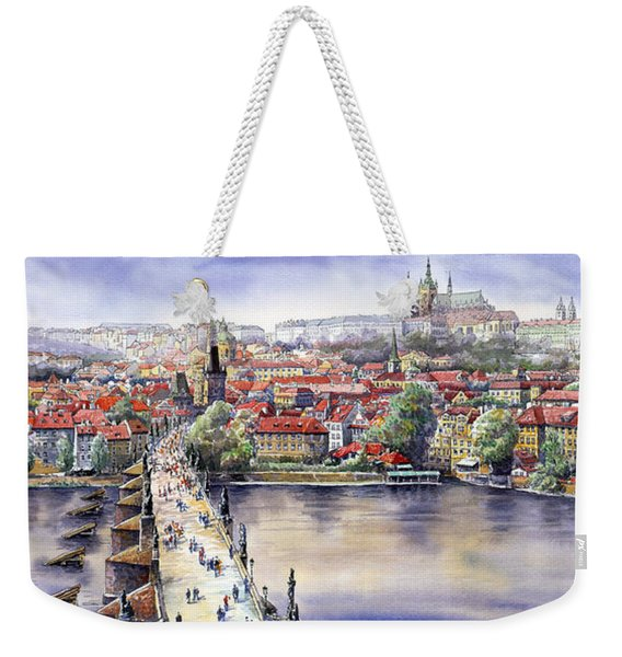 Panorama With Vltava River Charles Bridge And Prague Castle St Vit Weekender Tote Bag
