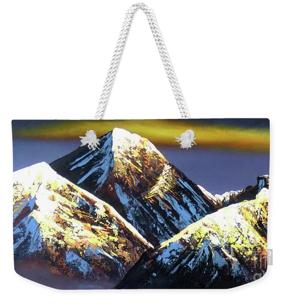 Panoramic Night View Of Everest Mountain Weekender Tote Bag