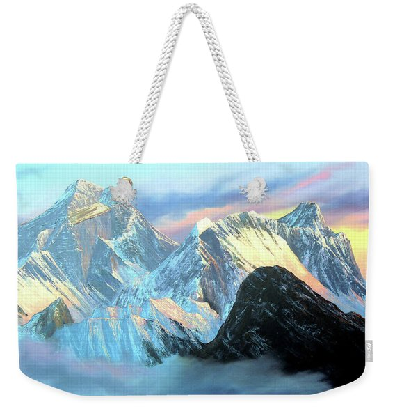 Panoramic Sunrise View Of Everest Mountain Weekender Tote Bag