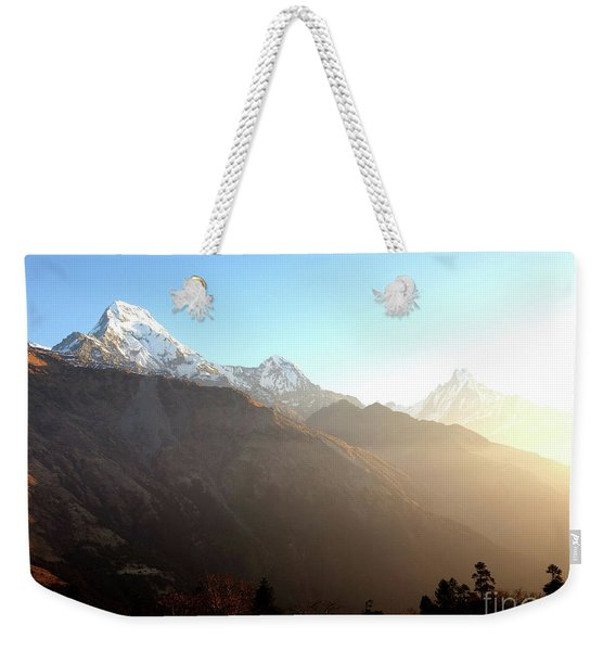 Panoramic Sunset View Of Everest Mountain Weekender Tote Bag