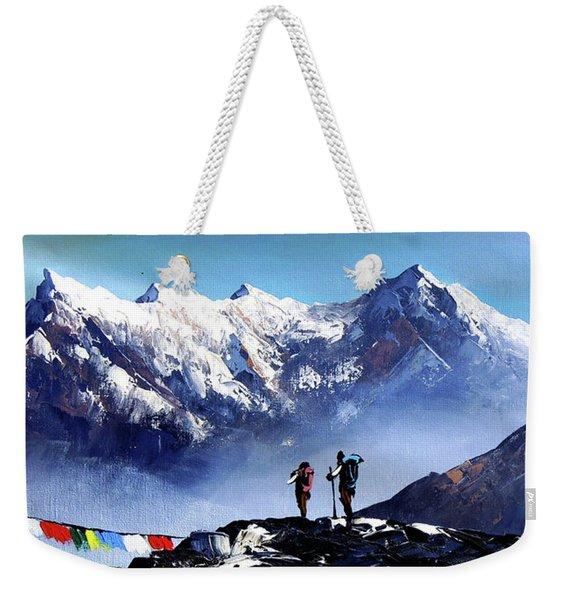 Panoramic View Of Ama Dablam Peak Everest Mountain Weekender Tote Bag