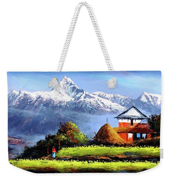 Panoramic View Of Beautiful Everest Mountain Weekender Tote Bag
