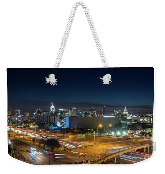 Panoramic View Of Busy Austin Texas Downtown Weekender Tote Bag