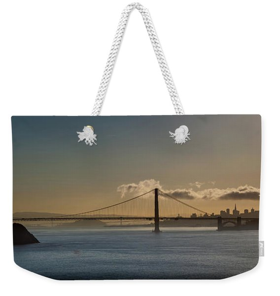 Panoramic View Of Downtown San Francisco Behind The Golden Gate  Weekender Tote Bag