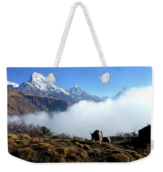 Panoramic View Of Everest Mountain Nepal Weekender Tote Bag