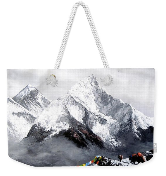 Panoramic View Of Everest Mountain Weekender Tote Bag