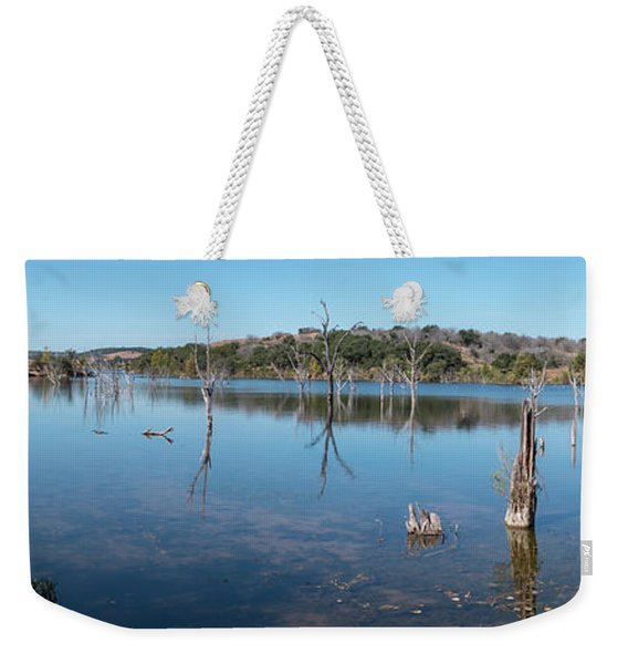 Panoramic View Of Large Lake With Grass On The Shore Weekender Tote Bag