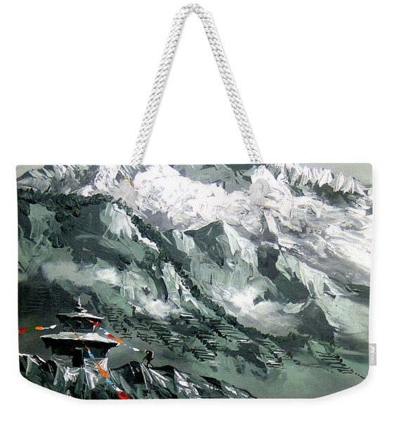 Panoramic View Of Mountain Everest Weekender Tote Bag